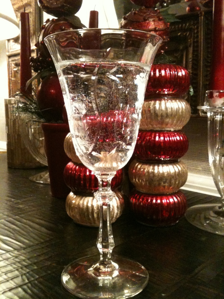 Crystal goblet at Christmas