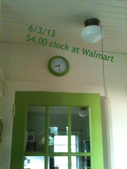 Green walmart clock for $3.99 and the schoolhouse light with pull chain that we kept.