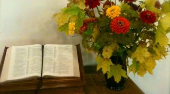 Vase of flowers and bible