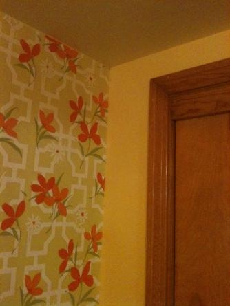 70s orange flowered wallpaper