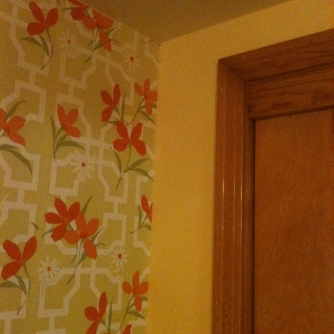 70s orange flowered wallpaper