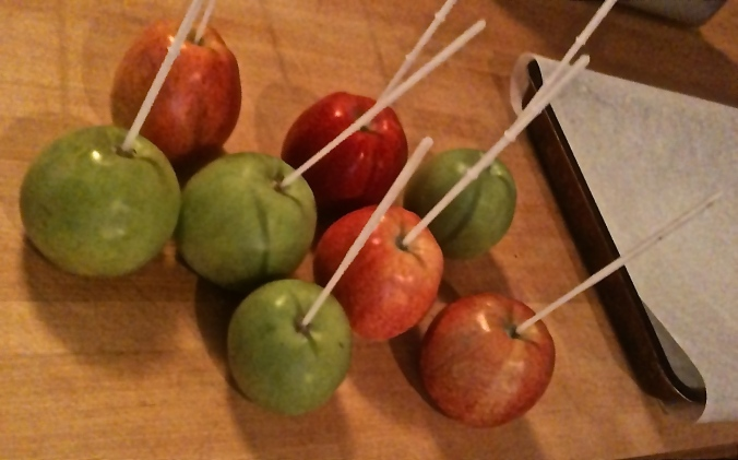 Apples ready for caramel