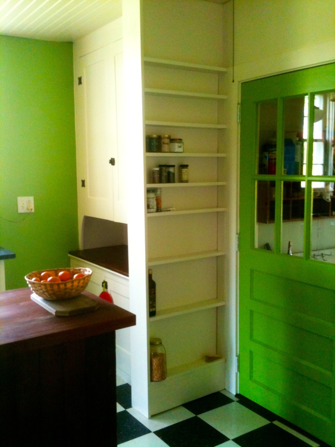 Built in behind-the door spice rack