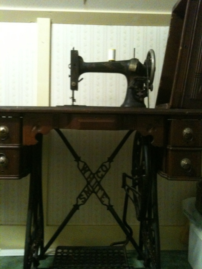 White treadle sewing machine, ca 1890.