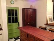 Sapele butcher block top on antique schoolhouse cupboard