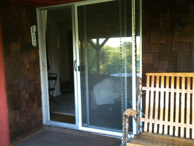 Sliding glass doors on to porch