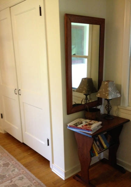 Closet doors are painted Sherwin Williams Steamed Milk, semi-gloss.