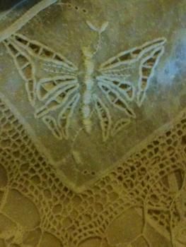 cutwork butterfly on vintage linen