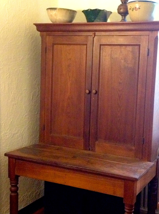 primitive walnut hutch