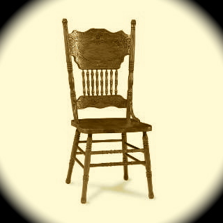 This is the classic pressed-back chair, and very similar to the one I painted glossy forest green...