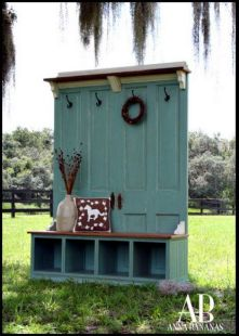 This is from the website contentinacottage.com. We aren't painting it aqua, but maybe Blooming Grove green to bring a little kitchen out into the mudroom...