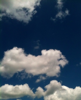 Blue sky, white clouds