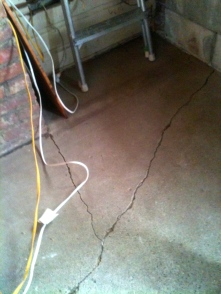 Not only does the floor have a level problem, there are also some serious cracks.