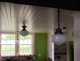 Schoolhouse lights in kitchen