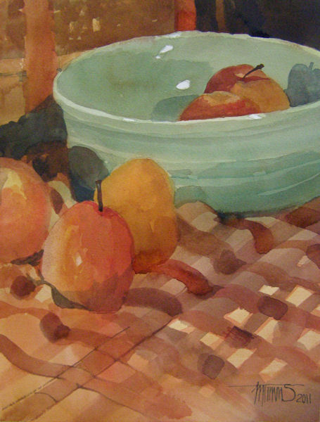 Red Apples, Green Bowl watercolor by Marilyn Timms