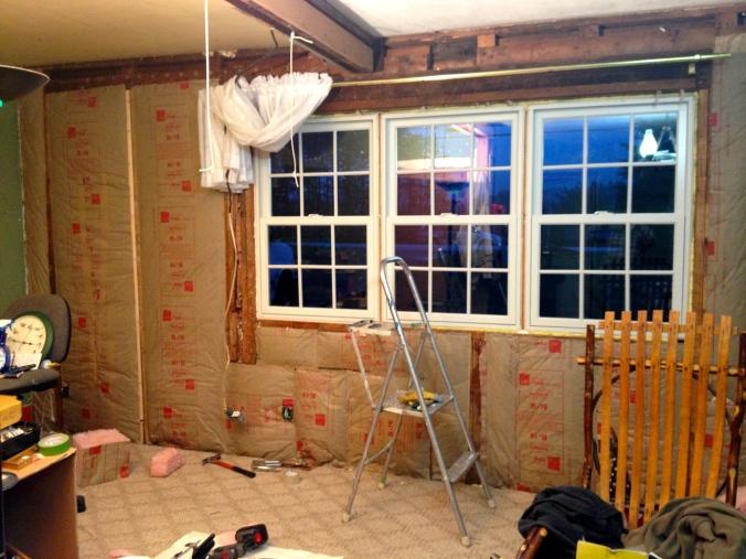 New insulation surround new living room windows