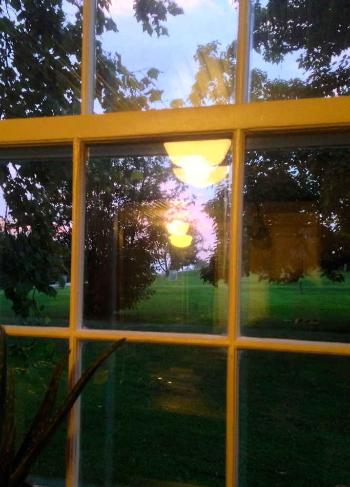 sunset through the window