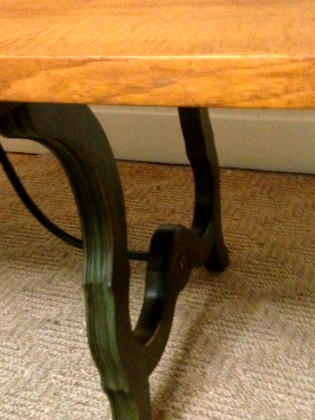 table and green legs