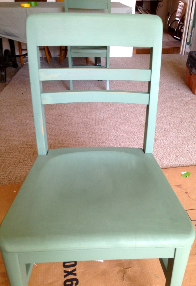 Chalk- painted chair with paint only, and just a little sanding.