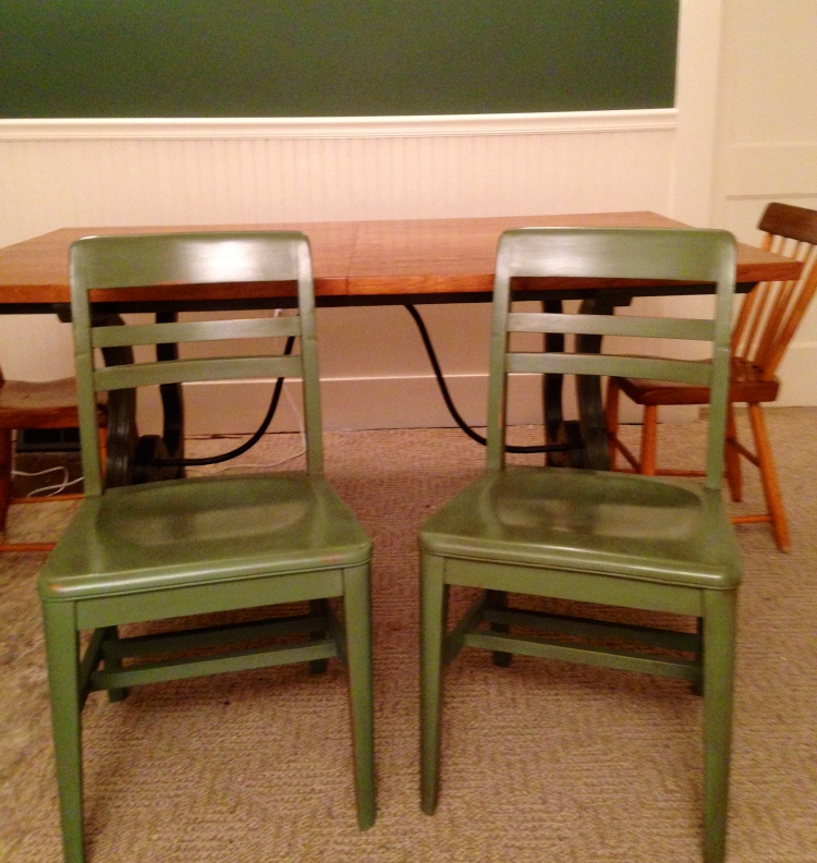 These chairs have two coats of paint and four coats of wax. (One chair got three coats of paint, but honestly, I can't tell which one it was, now that they are both finished.