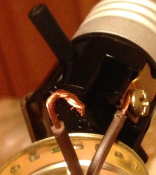 Close up of lamp wires
