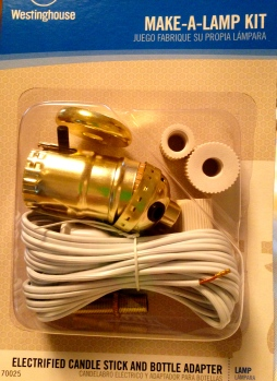 For this project I bought the kit that included a new lamp cord; my local hardware store actually had more selection of lamp repair parts than the big box stores.