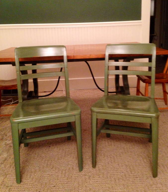 My chalk-painted chairs, $5 each from St. Vinnie's, and painted with DIY chalk paint.
