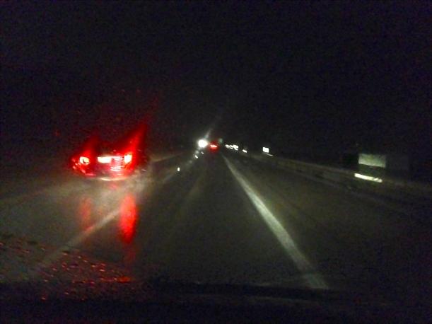 taillights in rain