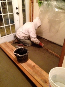 It was the coldest week of the winter, 2015 when we laid the tile in the mudroom.