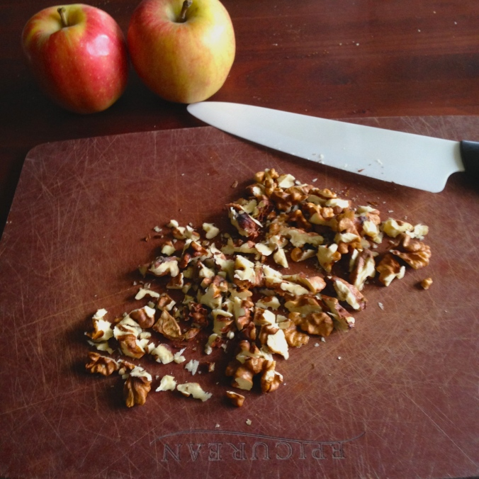 Apples and chopped walnuts