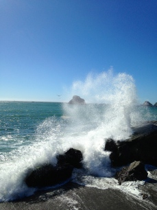 Pacific crashing waves