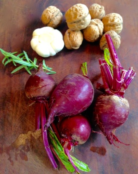 Beets. garlic, rosemary & walnuts