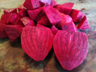 I know there are only 4 beets here -- after I started the recipe and got the beets chopped, I went out to get a few more. I think two medium beets per person is about right.