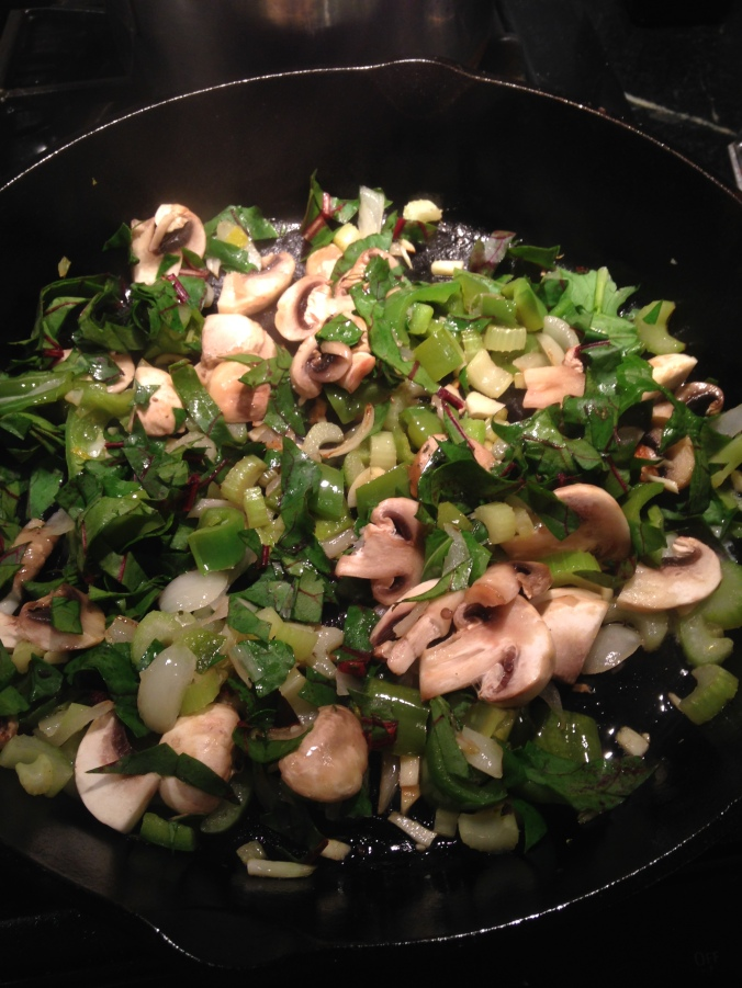sautéed veggies with chopped greens
