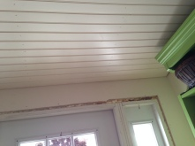 the ceiling now matches throughout the cottage...