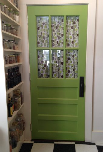 green door to the basement